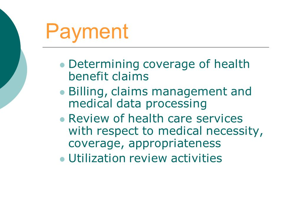 Payment Determining coverage of health benefit claims