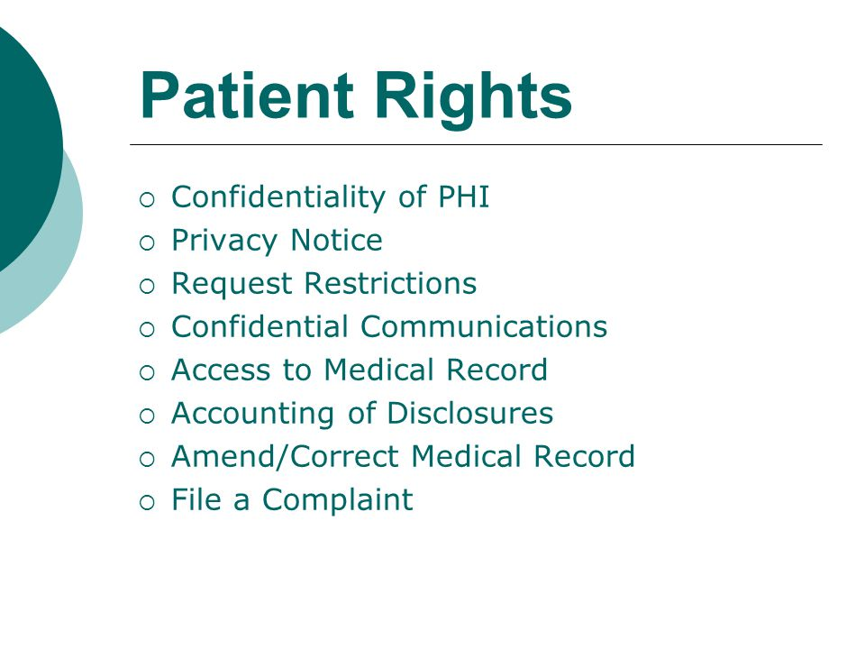 Patient Rights Confidentiality of PHI Privacy Notice