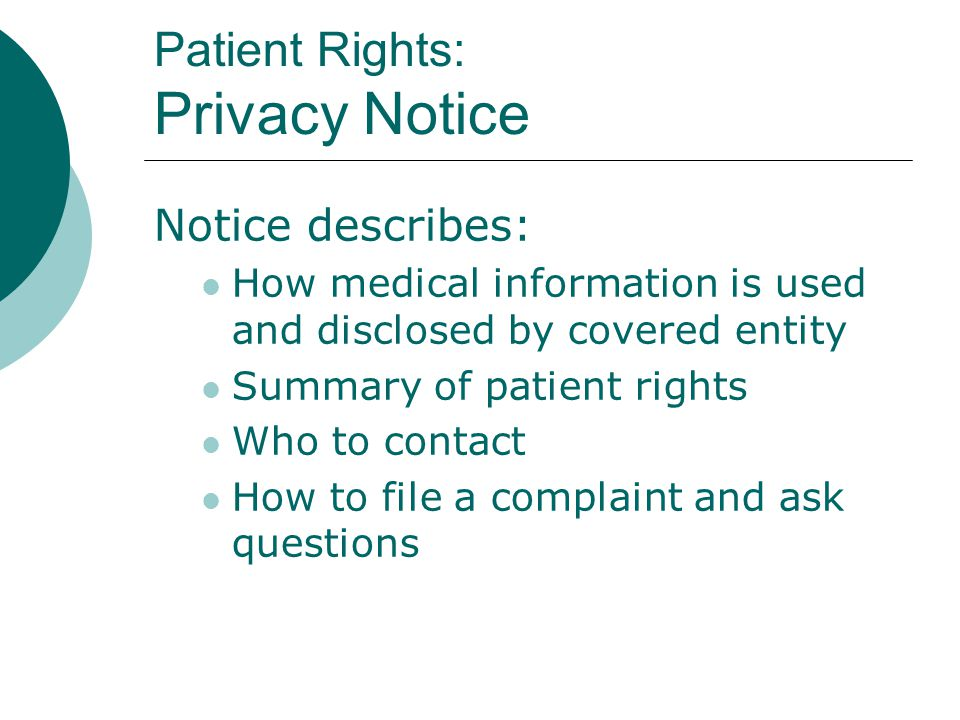Patient Rights: Privacy Notice
