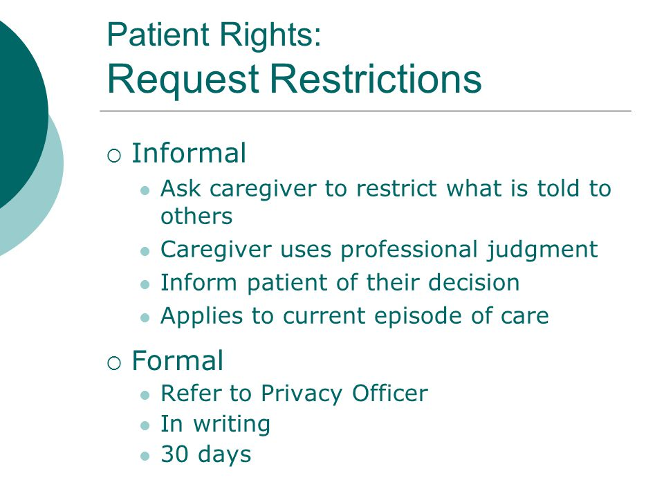 Patient Rights: Request Restrictions