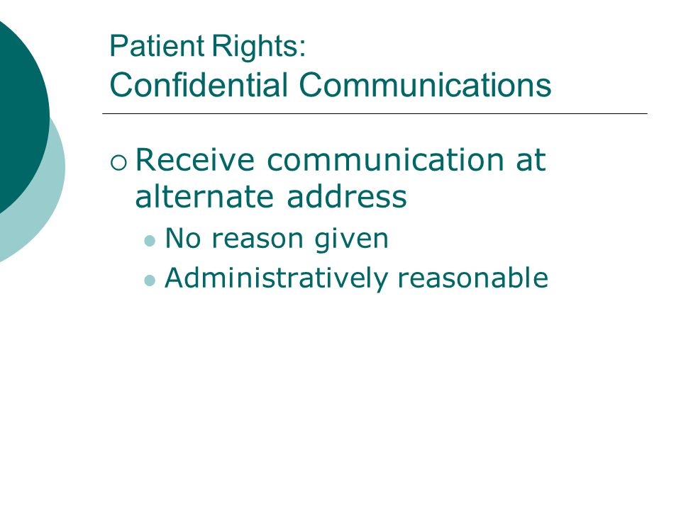 Patient Rights: Confidential Communications