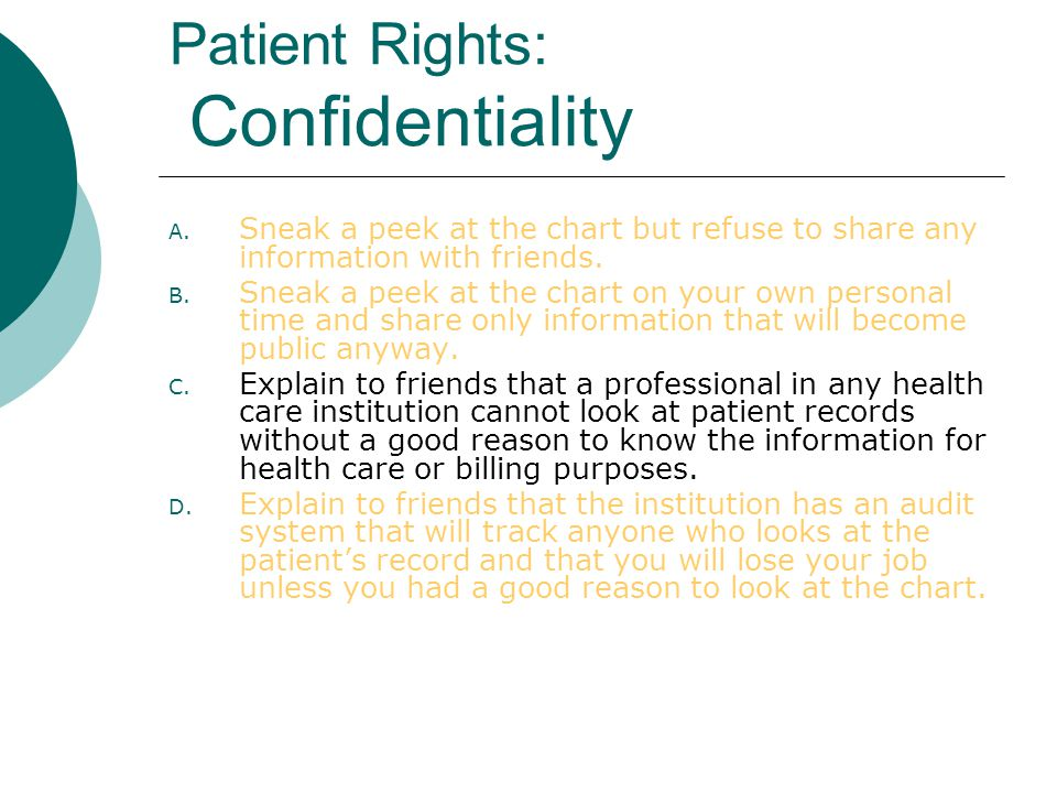 Patient Rights: Confidentiality