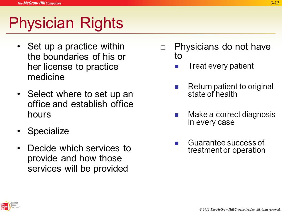 Physician Rights Set up a practice within the boundaries of his or her license to practice medicine.