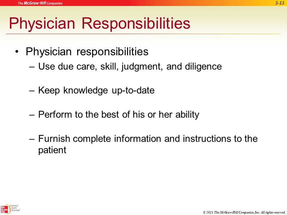 Physician Responsibilities