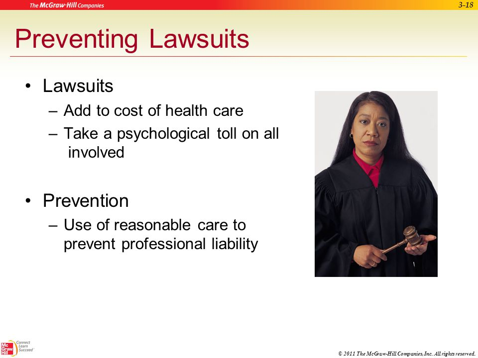Preventing Lawsuits Lawsuits Prevention Add to cost of health care