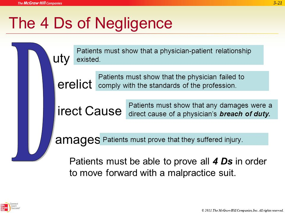 D The 4 Ds of Negligence uty erelict irect Cause amages