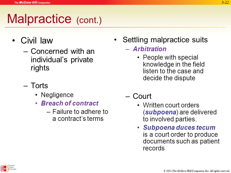 Malpractice (cont.) Civil law Settling malpractice suits