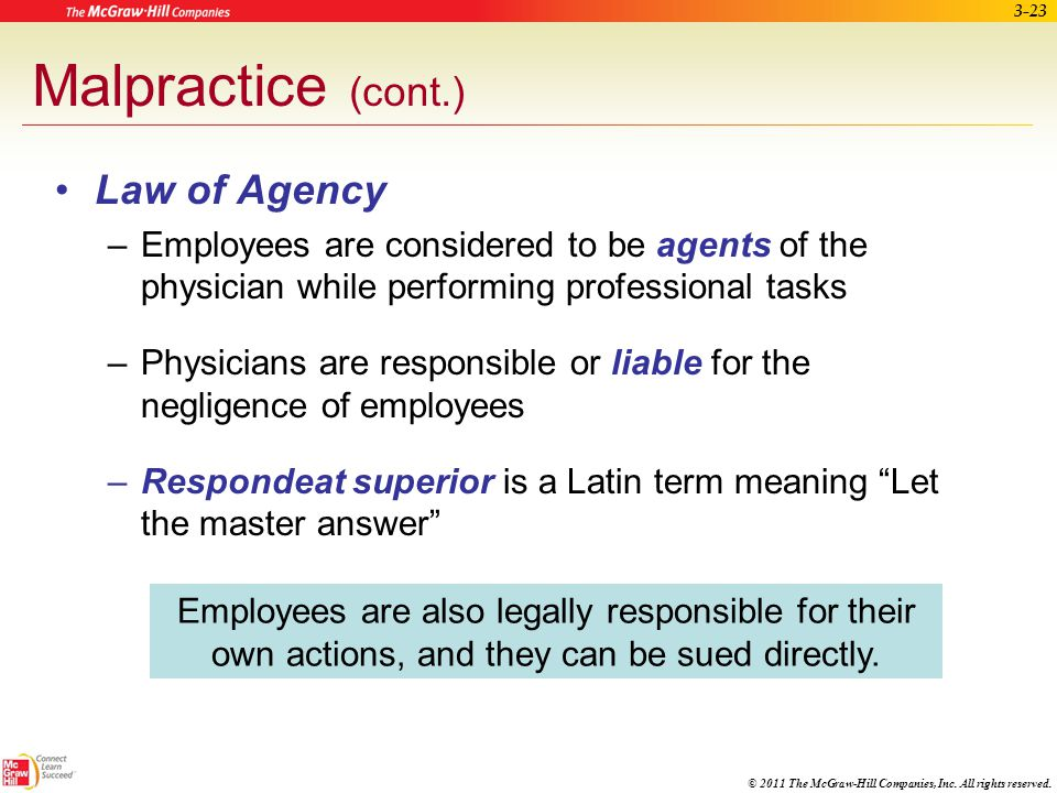 Malpractice (cont.) Law of Agency