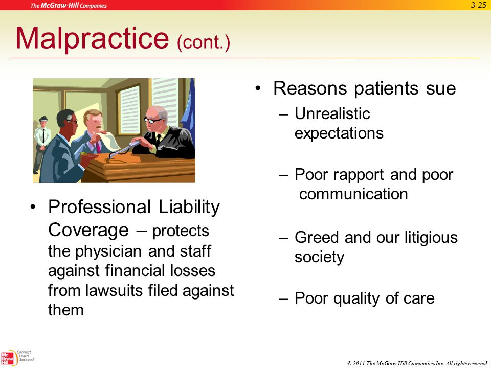 Malpractice (cont.) Reasons patients sue