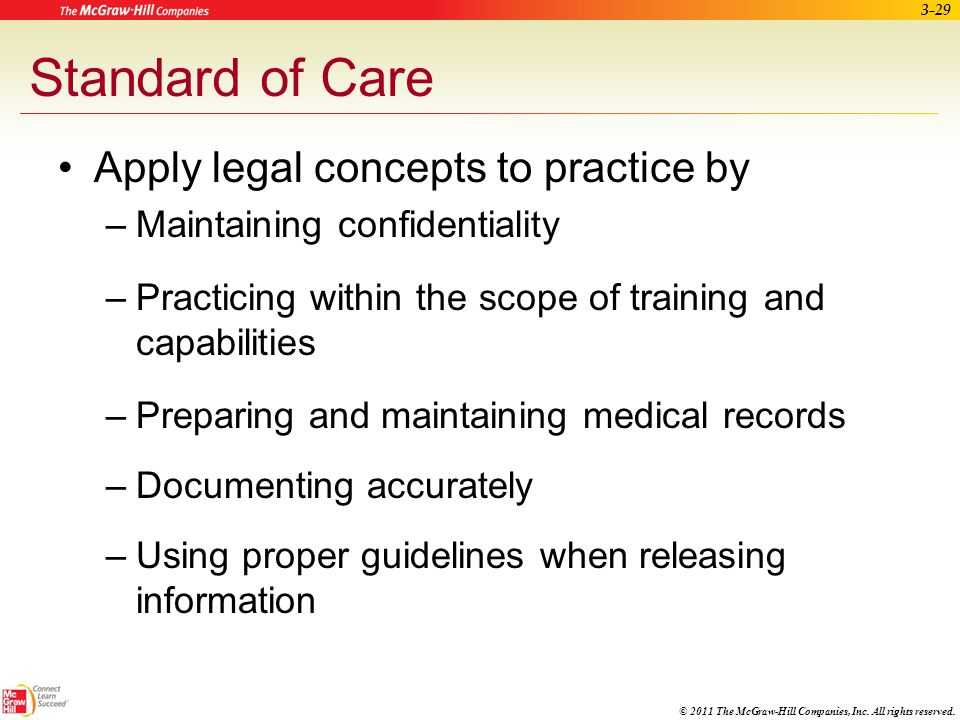 Standard of Care Apply legal concepts to practice by