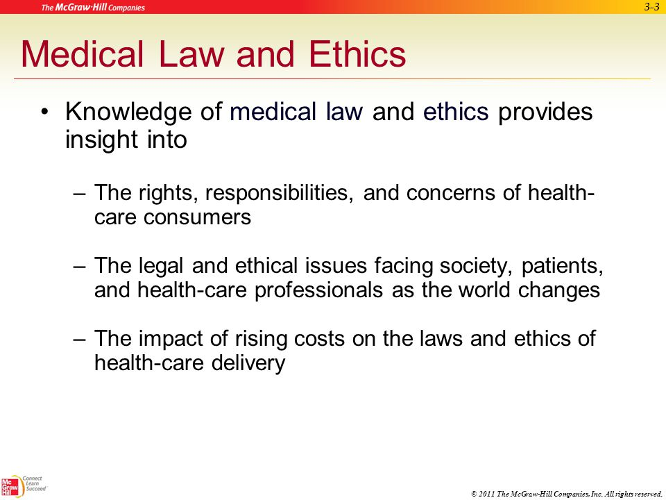 Medical Law and Ethics Knowledge of medical law and ethics provides insight into.