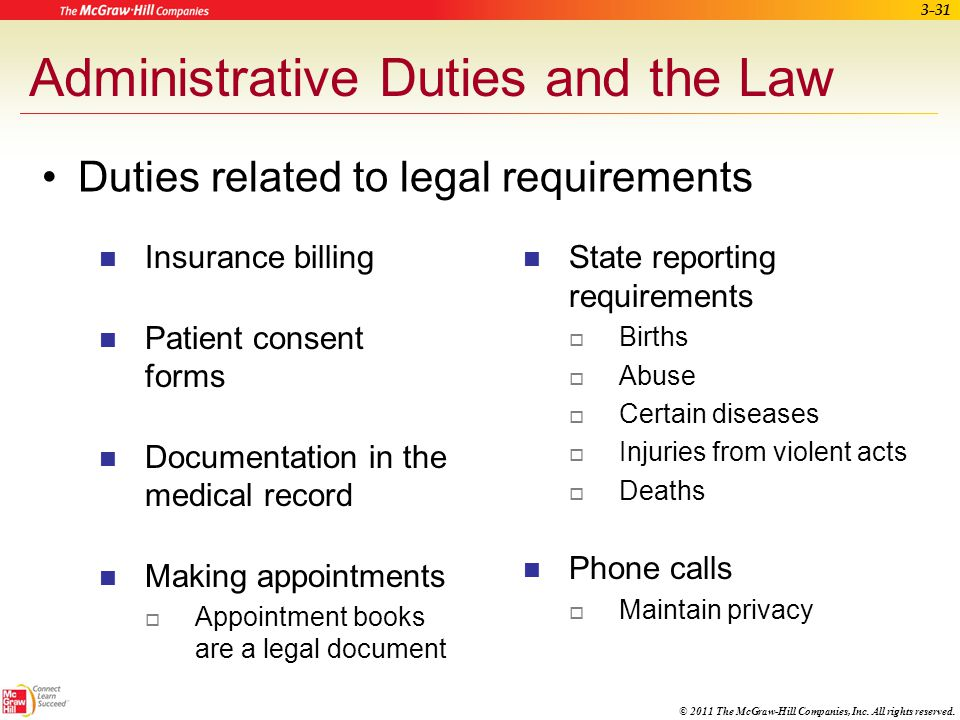 Administrative Duties and the Law