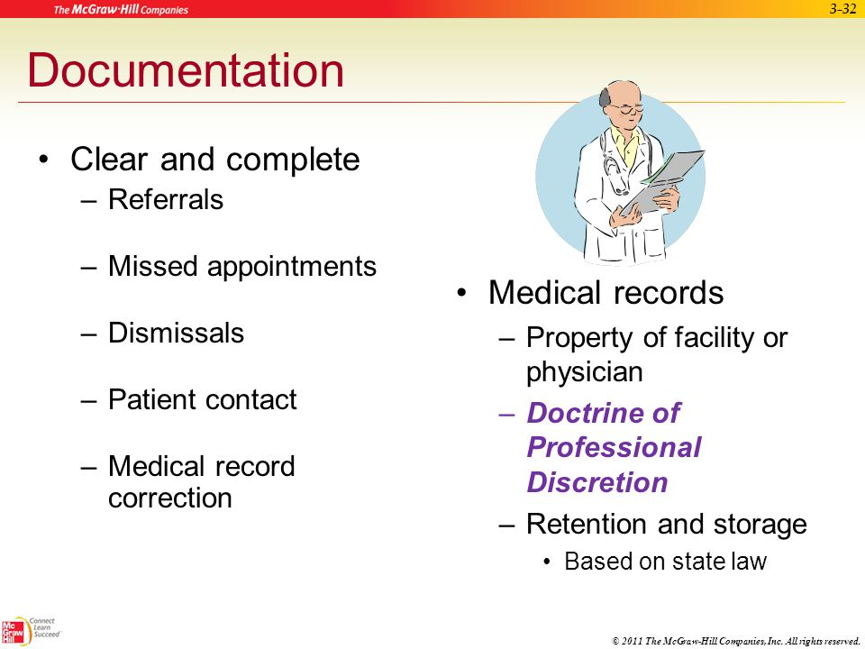 Documentation Clear and complete Medical records Referrals