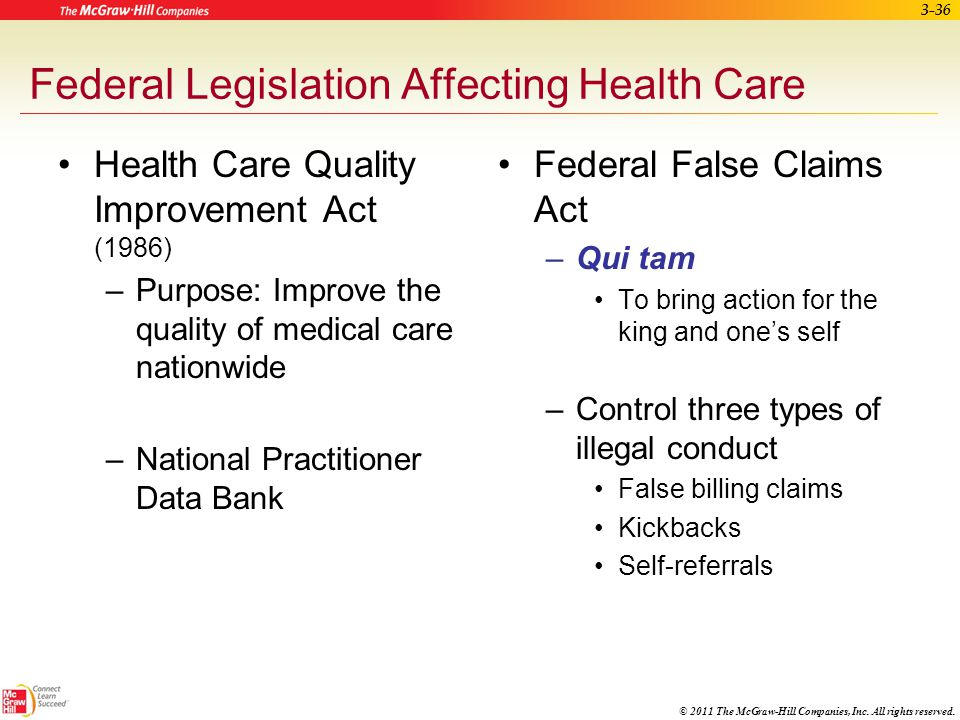 Federal Legislation Affecting Health Care
