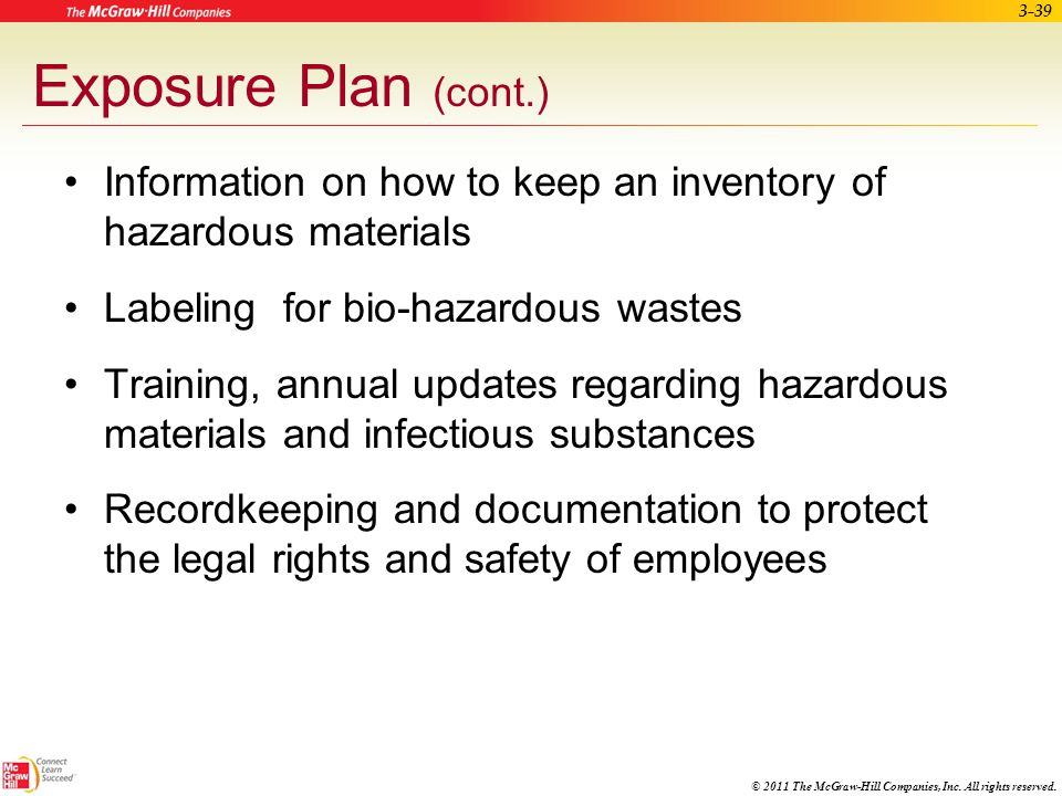 Exposure Plan (cont.) Information on how to keep an inventory of hazardous materials. Labeling for bio-hazardous wastes.