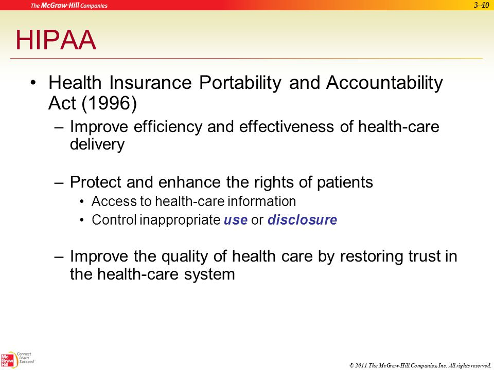 HIPAA Health Insurance Portability and Accountability Act (1996)