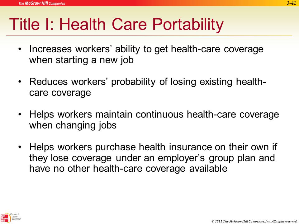Title I: Health Care Portability