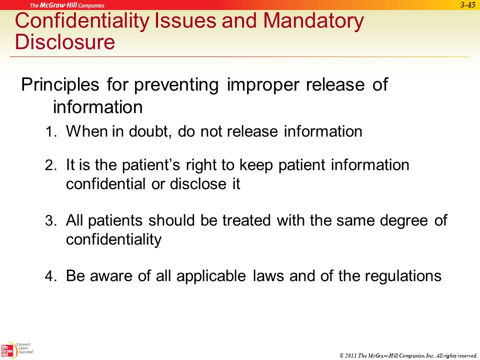 Confidentiality Issues and Mandatory Disclosure
