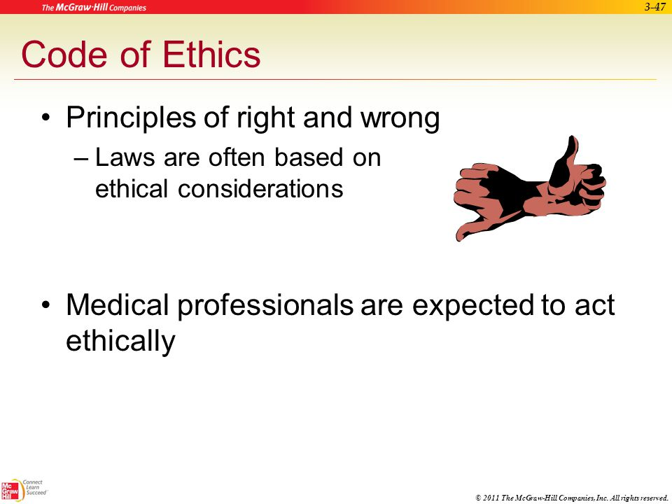 Code of Ethics Principles of right and wrong