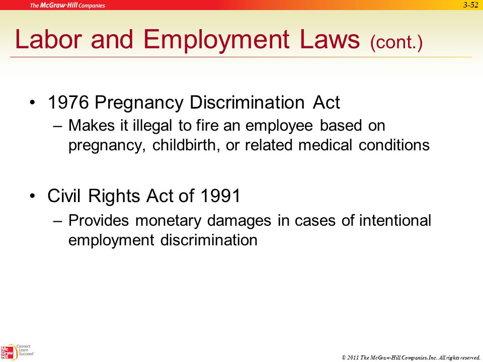 Labor and Employment Laws (cont.)
