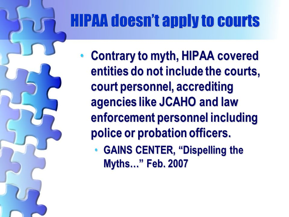 HIPAA doesn't apply to courts