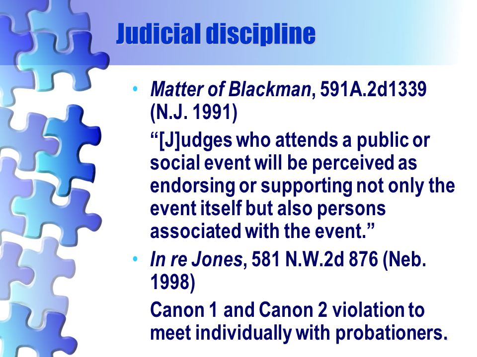 Judicial discipline Matter of Blackman, 591A.2d1339 (N.J. 1991)
