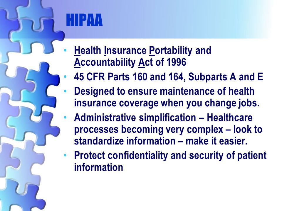 HIPAA Health Insurance Portability and Accountability Act of 1996