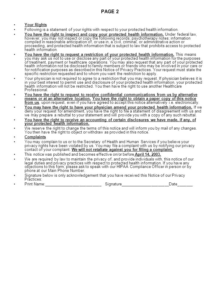 PAGE 2 Your Rights. Following is a statement of your rights with respect to your protected health information.