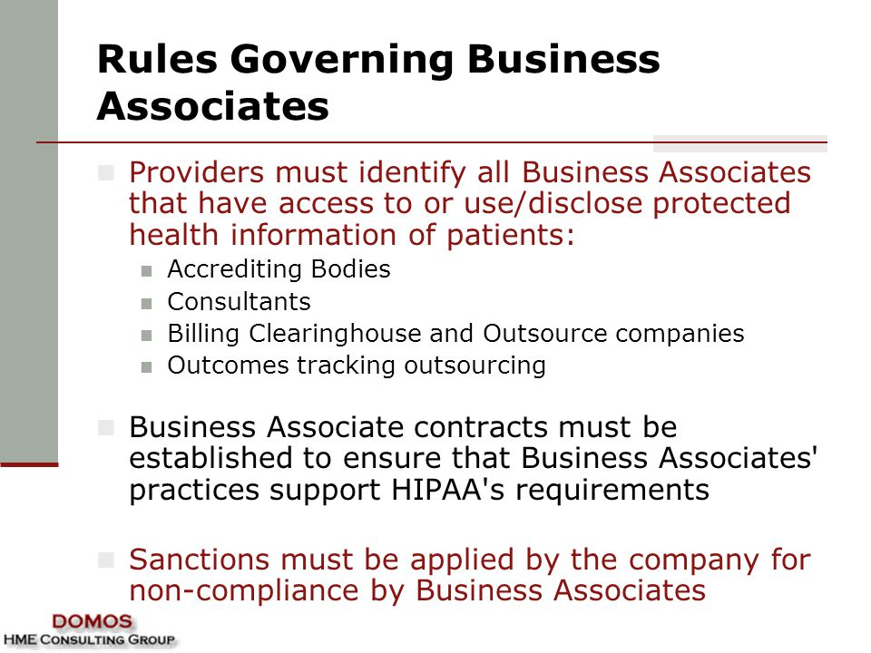 Rules Governing Business Associates