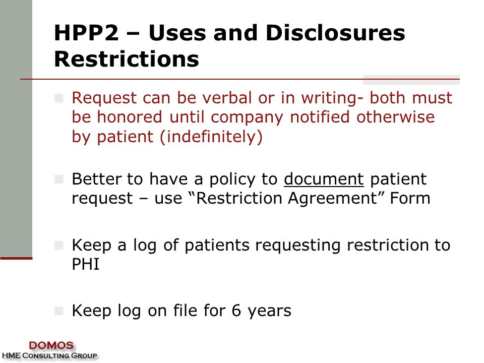 HPP2 – Uses and Disclosures Restrictions