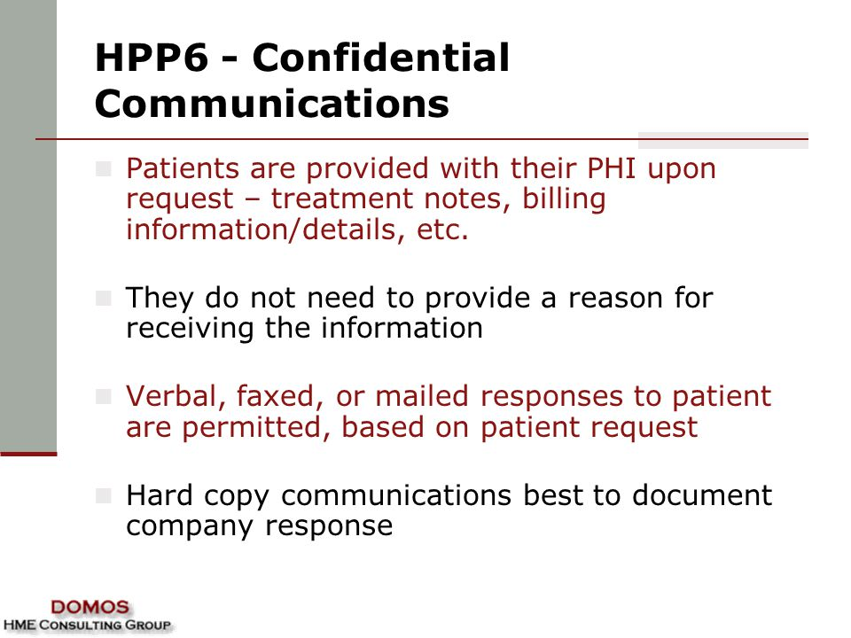 HPP6 - Confidential Communications