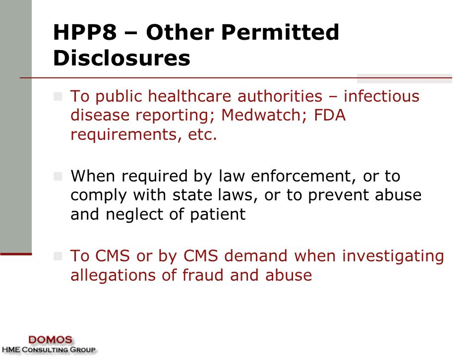 HPP8 – Other Permitted Disclosures