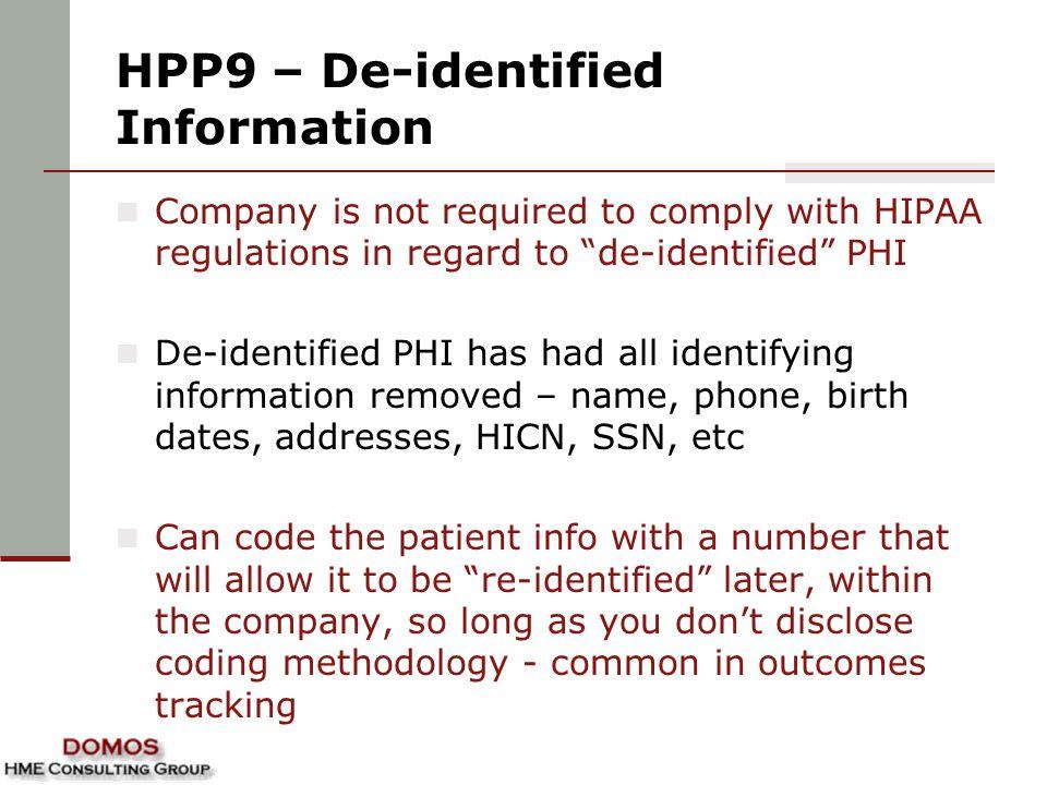 HPP9 – De-identified Information