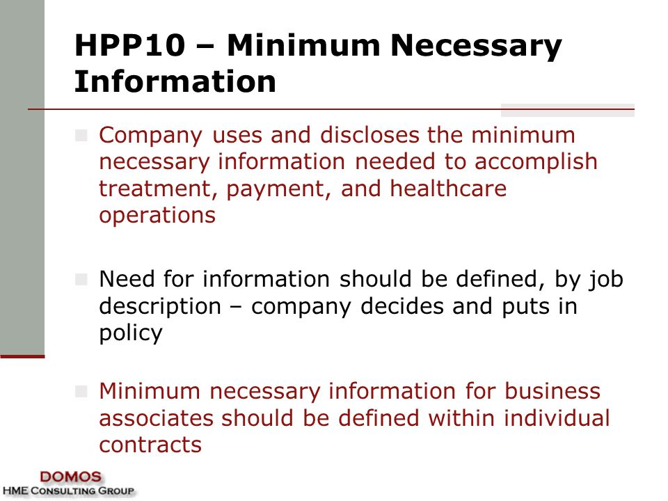 HPP10 – Minimum Necessary Information