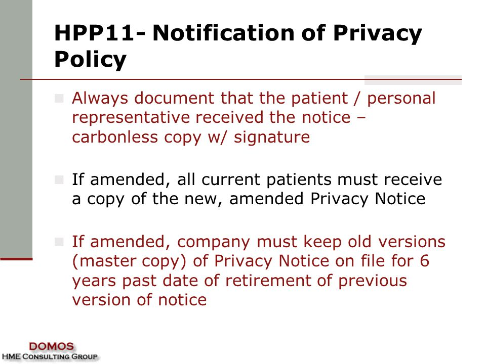 HPP11- Notification of Privacy Policy