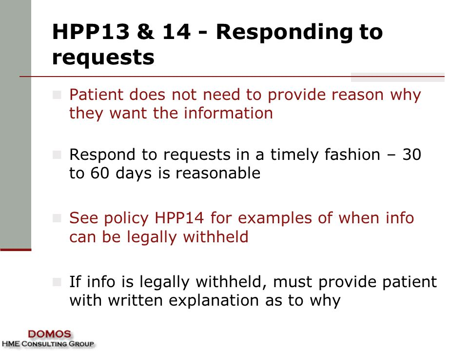 HPP13 & 14 - Responding to requests