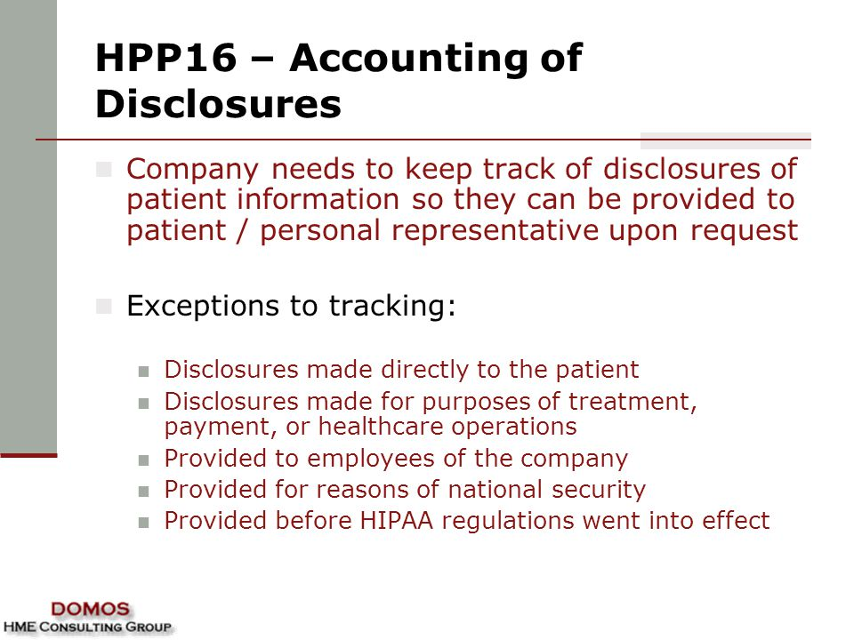 HPP16 – Accounting of Disclosures