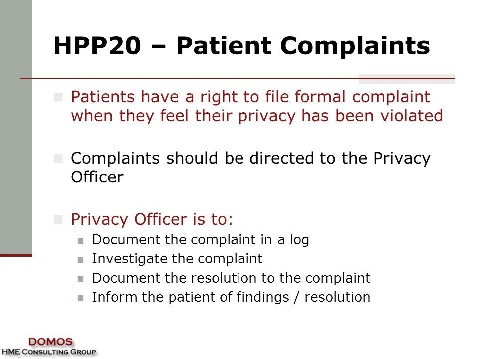 HPP20 – Patient Complaints
