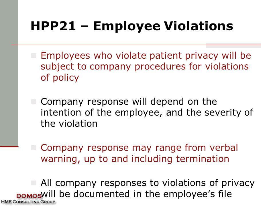 HPP21 – Employee Violations