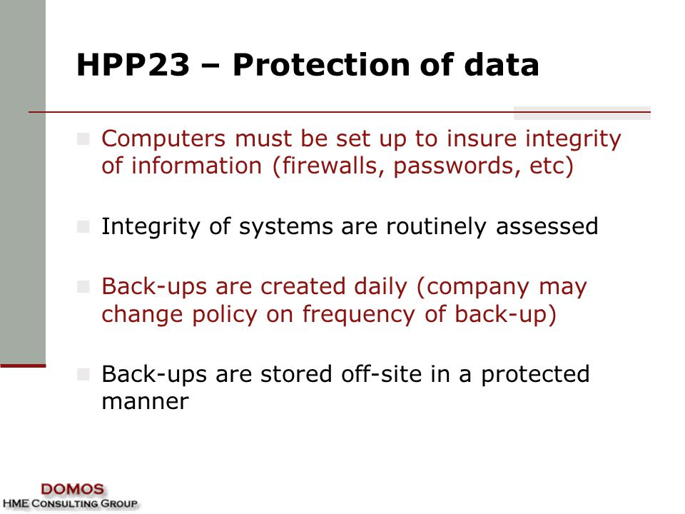 HPP23 – Protection of data