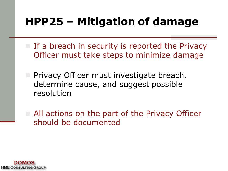 HPP25 – Mitigation of damage