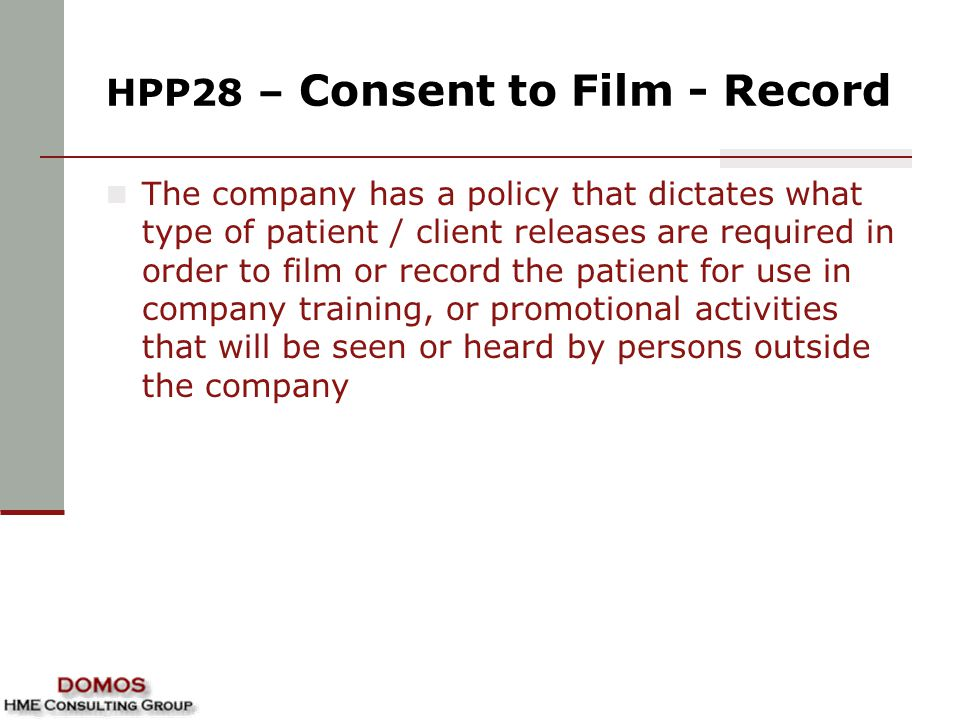 HPP28 – Consent to Film - Record