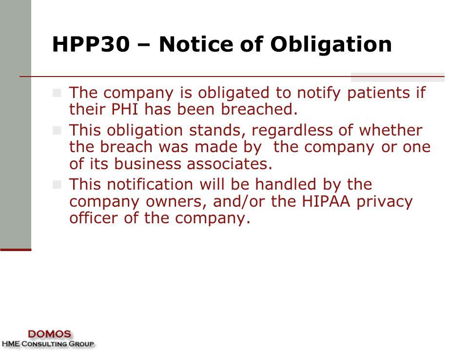 HPP30 – Notice of Obligation