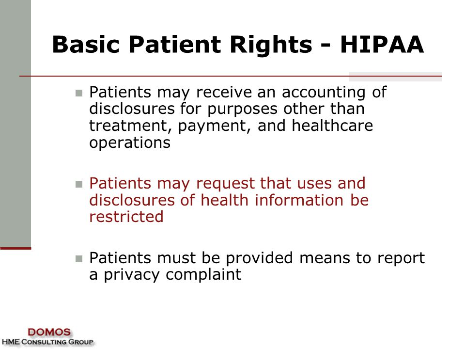 Basic Patient Rights - HIPAA