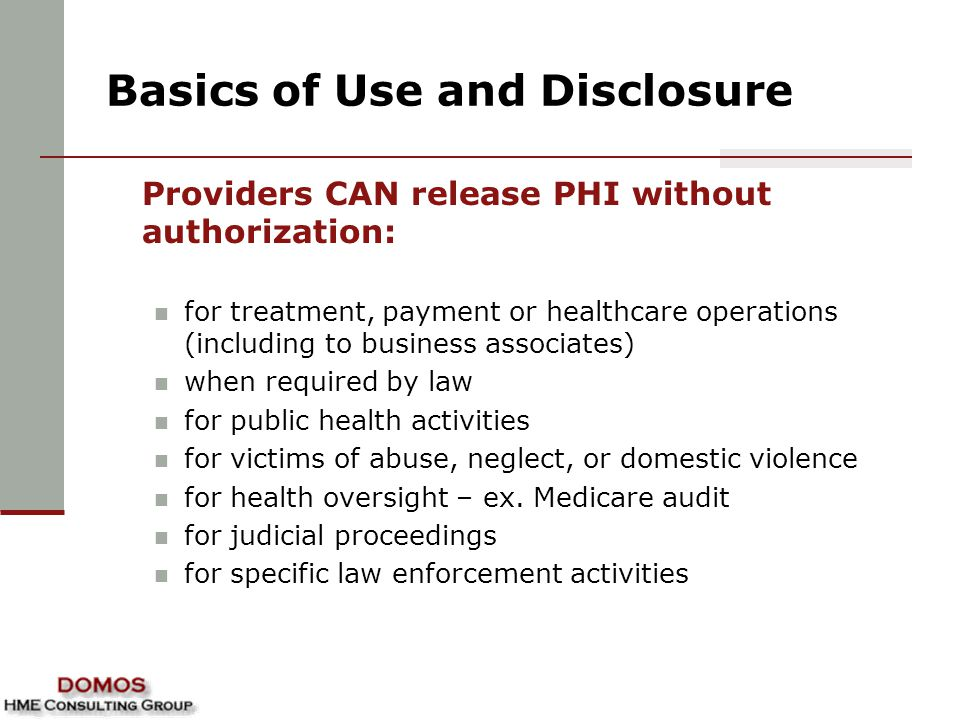 Basics of Use and Disclosure