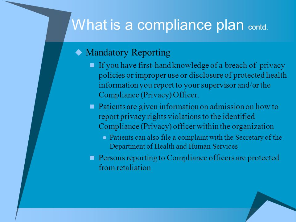 What is a compliance plan contd.