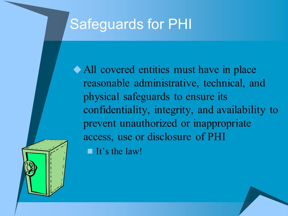 Safeguards for PHI
