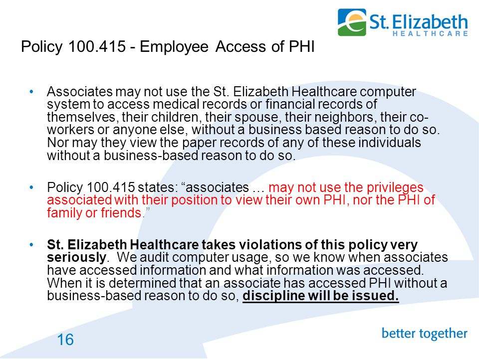 Policy 100.415 - Employee Access of PHI