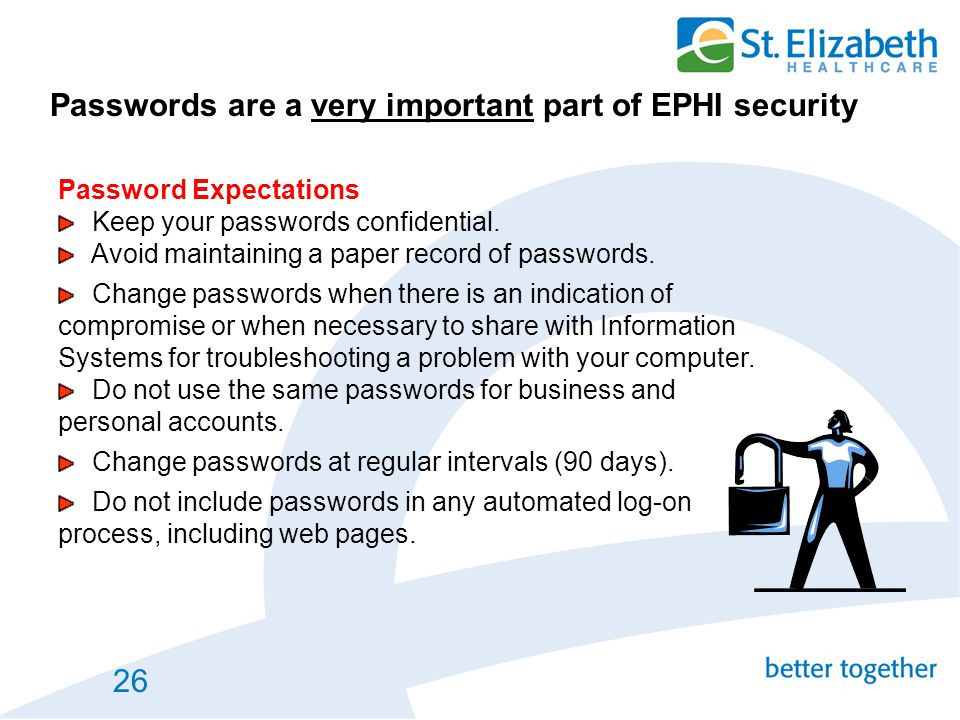 Passwords are a very important part of EPHI security