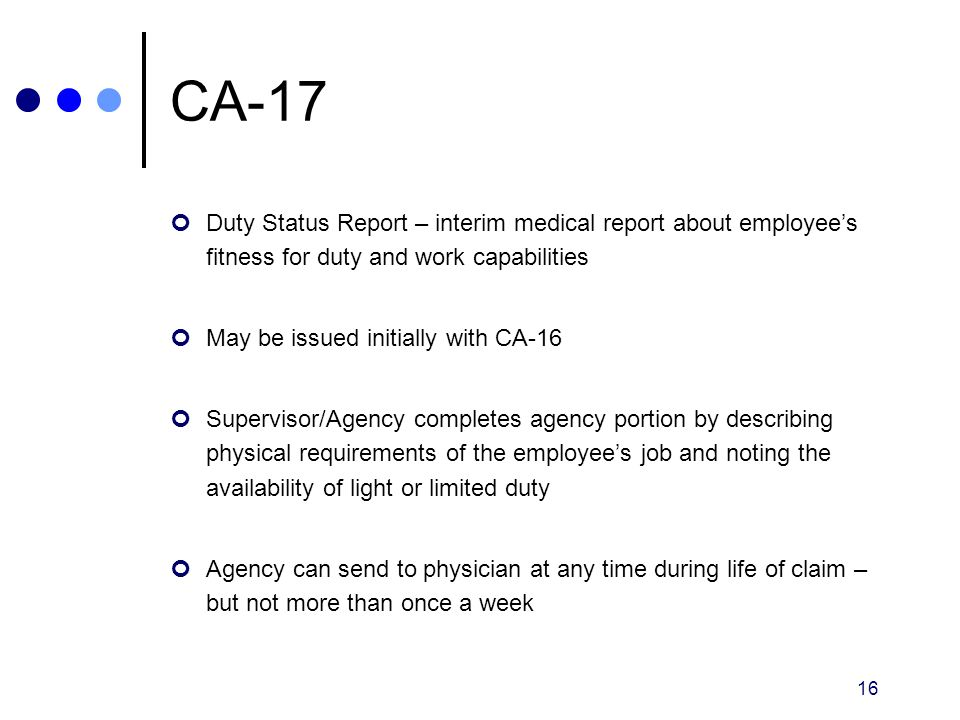 CA-17 Duty Status Report – interim medical report about employee's fitness for duty and work capabilities.